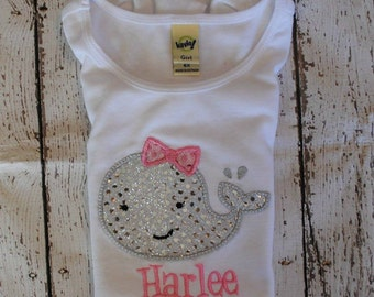 Whale with bow Personalized Shirt or Bodysuit