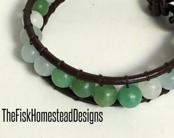 Leather Wrap Bracelet - Seafoam Green