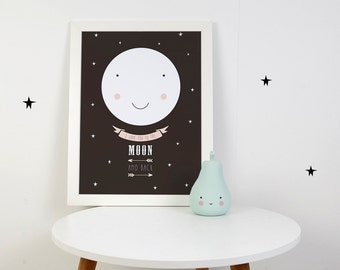 Digital Print: I love you to the moon and back (pink)