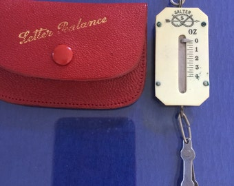 Small Salter Letter Scale In Leather Pouch c 1930