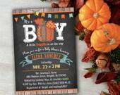 Chalkboard baby shower invitation - Its a BOY - Fall baby shower invitations - Printable