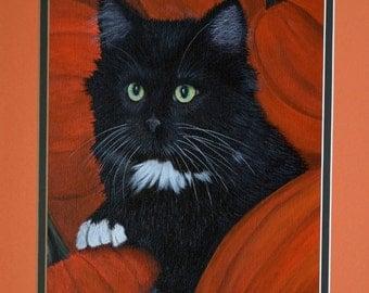 Framed Cat Portrait - black cat, pumpkins, Halloween, cat, fall decor, original painting, orange, black, kitten, green eyes, green eyed cat