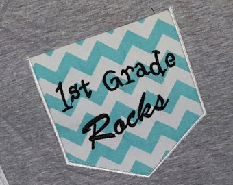 First Grade Rocks Chevron Pocket Shirt 1st Grade Rocks Pocket Teacher Shirt