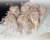 """6 handmade cones SET TUSSIE MUSSIES 12""""  vintage linens decorations matching white+peach"""