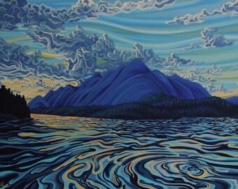 Lake Koocanusa, 5x7, art print, ready to hang