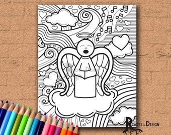 INSTANT DOWNLOAD Coloring Page - Angel Doodle Coloring Print, doodle art, printable