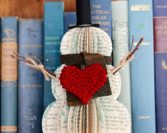 VINTAGE BOOK SNOWMAN with knit heart ///  ready to ship