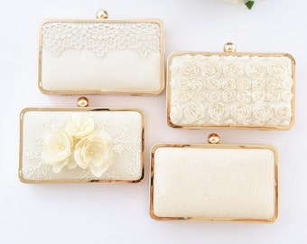 IVORY - PETITE box clutch - Bridal/Bridesmaids/Flower girl/Prom/Cocktail/Shabby chic/Lace/Sequin/Floral/Simple/Chiffon
