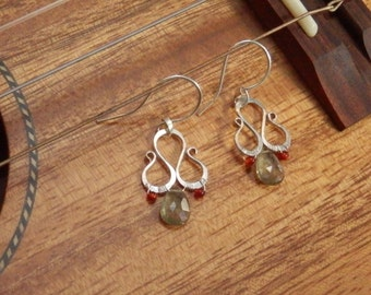 Rare Moss Aquamarine and Carnelian Gemstones with Hand Forged Recycled Sterling Silver by JeanineDesigns