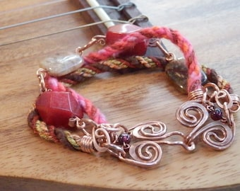 Bracelet red jade lace agate forged copper by JeanineDesigns Ready to Ship, Gift Wrapped