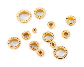 Triangle Tunnels - Flesh Tunnels - Stretched Lobes - 22K Gold Plated Tunnels - Plugs - Body Piercing Jewelry