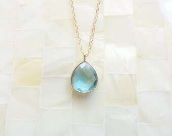 Step Cut Faceted Blue Quartz Vermeil Bezel Pear Pendant on Gold Chain Necklace (N1733)