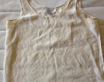 Matte silk top in ecru