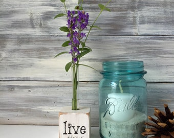 Test tube vase, flower vase, small gift, white rustic decor, gift for gardener