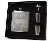 Personalized flask for women // 6oz flask gift set // French Floral Design