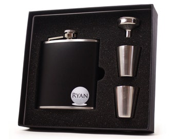 Golfing Liquor flask // Personalized 6 oz Golf Hip Flask Groomsman Gift