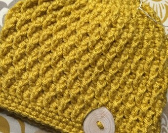 Ready to Ship * Crochet * Mustard Yellow * Textured Hat * Toddler Size * with Handmade Wood Branch Button * Boy Girl Neutral
