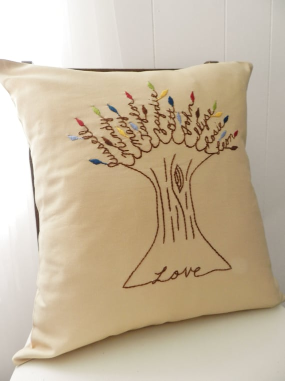 Love Family Pillow Cover. Valentine s Day by BlueLeafBoutique