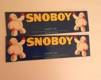 2 SnoBoy fruit crate labels snowman