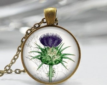 ON SALE Purple Thistle Necklace Botanical Flower Jewelry Vintage Botany Nature Art Pendant in Bronze or Silver with Link Chain Included