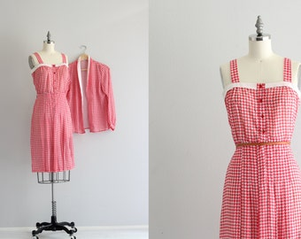 Vintage Dress Set . Retro Gingham Day Dress . 40s 30s dress