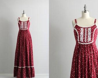 60s 70s Hippie Boho Dress . Floral Print Maxi Dress . Vintage Indian Summer Dress