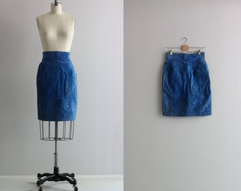 Vintage Blue Suede Skirt . 80s 1980s Pencil Skirt . High Waisted Skirt