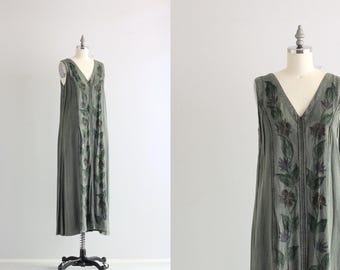 Vintage 90s Dress . Nineties Hippie Boho Festival Dress . Oversized Baggy Dress