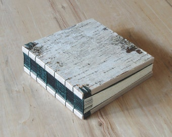 rustic wedding guest book or journal - birch bark cabin guest book -green natural woodland  unique wedding anniversary gift ready to ship