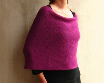 knit wrap infinity scarf cowl snood in magenta