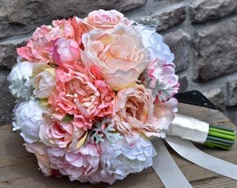Coral and Peach Peony Wedding Bouquet - UNIQUELY CHIC - Bridal bouquet, Silk peony bouquet, Wedding flowers, Destination wedding,