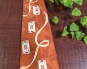 Mens 1940's Orange Silk Necktie with Retro Design- 1940s necktie, hipster necktie, mens orange necktie, vintage necktie