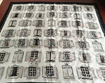 Vintage Black Silk Scarf with Shuttered Windows Pattern- black silk scarf, novelty scarf, vintage scarf, windows of Europe