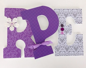 Purple and Gray Wood Nursery Decor - Baby Girl Custom Wooden Letters - Hanging Wall Letters
