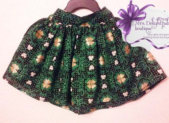 st. Patrick's day skirt , shamrock , green skirt, boutique kids clothes, boutique bows