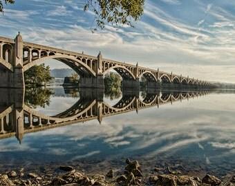 Bridge Reflection Fine Art Photograph 12x18 Print - Wrightsville Bridge mirrored Susquehanna River blue white and gray