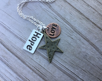 Stars Mixed Metals Charm Necklace- Star, HOPE, LOVE - with your choice of chain