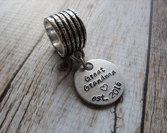 """Scarf Accessory, Hand-Stamped Scarf Decoration- """"Great Grandma est. (year of your choice)"""" -Scarf Bling- gift for Great Grandma"""