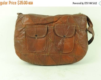 ON SALE 50% 70s Vintage BOHO Brown Leather Patchwork  Shoulder Bag