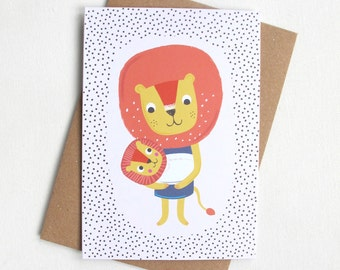 New Baby Card, Lion Card, Illustrated Greetings Card, Baby Card, A6