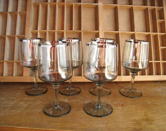Vintage Silver Rim Glasses Smoky Cocktail Glasses Vintage Barware Set Dorothy Thorpe Style