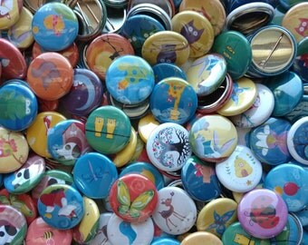 25 Woodland Party Favors - Pinback Buttons