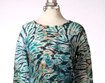 L Shibori Long Sleeve T-Shirt Aqua+