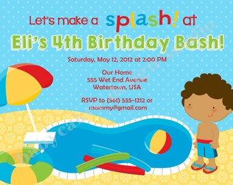 Pool Party Invitation Birthday Invite boy Splash Summer swim party african american boy printable digital file DIY