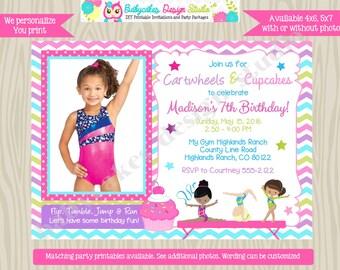 Cartwheels and Cupcakes birthday invitation invite cupcakes and cartwheels gymnastics party invite pink purple chevron Photo Picture DIY