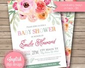 Watercolor Baby Shower Invitation, Baby Girl, Floral Baby Shower Invite, Printable Baby Shower Invite - Watercolor Flowers in Pink, Orange