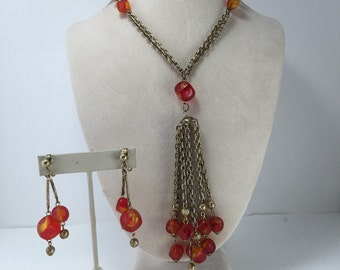 Rockability Necklace, Dangle Earrings, Necklace-Earring Set, Burnt Orange Marbled beads, Tassel Pendant, Vintage Jewelry, Hong Kong