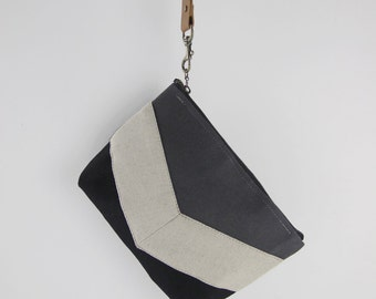 Oatmeal linen chevron black and gray pouch , Design by BagyBags
