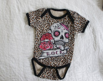 Olivia Paige - Little sugar skull Leopard rockabilly punk rock outfit bodysuit  all sizes available