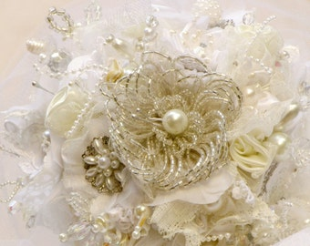 Bridal jeweled bouquet crystal bouquet wedding brooch bouquet fabric bridal bouquet pearl bouquet silver bouquet broach bouquet silk bouquet